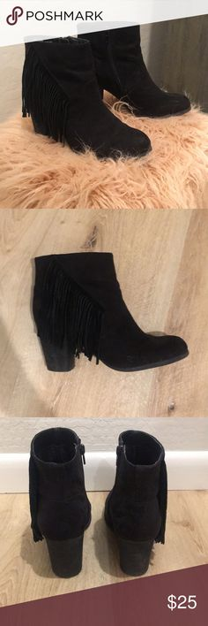 Madden Girl Fringe Black Booties Good used condition madden girl fringe black booties! Super cute and great for fall and winter! Very comfortable to walk in and goes with a lot! Madden Girl Shoes Ankle Boots & Booties