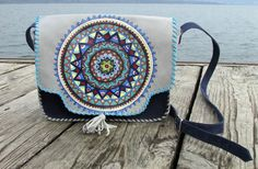 """Blue Mandala"" Handmade leather bag made from two types of leather ,with painted mandala.The painting ist made with special colours for leather. #handmade #leatherbag #art #leathercraft #paintingonleather  #mandala #colours"