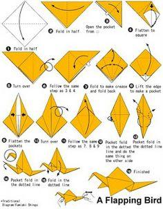 O QUE É MEU É NOSSO: Origami com Movimento (Action) - Tsuru que Bate as Asas - Flapping Crane