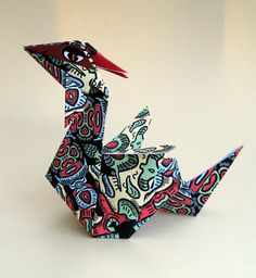 Origami Dragon with paper to print