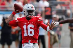 Ohio State quarterback J.T. Barrett throws a pass against Bowling Green during…