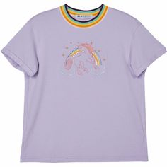 Unicorn Embroidered T-Shirt (725 RUB) ❤ liked on Polyvore featuring tops, t-shirts, clothing - ss tops, embroidered top, purple top, embroidered t shirts, embroidery top and unicorn tee
