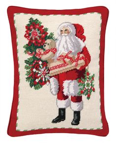 Santa and Teddy Bear Needlepoint Lumbar Pillow