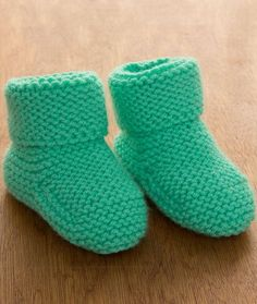 Free Knitting Pattern for Garter Stitch Baby Booties - Easy booties in boot style to stay on baby's feet. Only takes one ball of yarn.