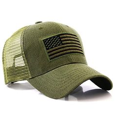 US American Flag Patch Tactical Style Mesh Trucker Baseball Cap Hat   Premium Quality Embroidered Flag Trucker Cap by Big Bear - USA Headwear 998ab8b5e86a