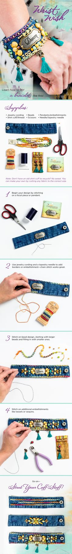 Focal Pendant Learn how to DIY this boho jean cuff bracelet!Learn how to DIY this boho jean cuff bracelet! Textile Jewelry, Fabric Jewelry, Boho Jewelry, Jewelry Crafts, Handmade Jewelry, Jewellery, Denim Bracelet, Fabric Bracelets, Cuff Bracelets