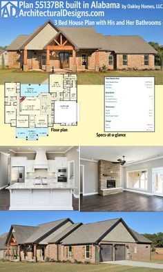 Architectural Designs House Plan 55137BR comes to life in Alabama! Great job by Oakley Homes, LLC. The home has 2,300+ square feet of heated living space. Plans are ready when you are. Where do YOU want to build?