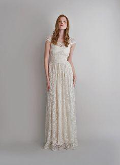 Melissa--2 Piece, Hand-Beaded Lace and Silk Wedding Dress