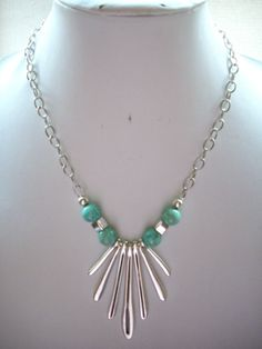 Silver Stick Pendant Necklace with Pistachio by DesignsbyPattiLynn, $45.00