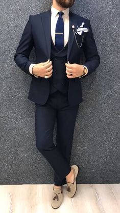 wedding suits men Collection: Spring Summer 2019 Product: Slim-Fit Wool Suit Color Code: Navy Blue Size: Suit Material: wool, polyester Machine Washable: No Fitting: Slim-fit Package Include: Jacket, Vest, Pants Only Gifts: Shirt, Chain and Neck Tie Blue Slim Fit Suit, Black Suit Men, Black Dress For Men, Dark Navy Suit, Blazer Outfits Men, Stylish Mens Outfits, Blue Blazer Outfit Men, Casual Outfits, Navy Blue Blazer