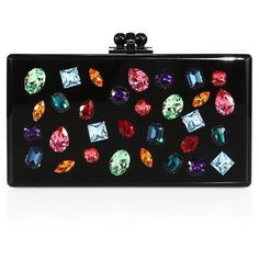 Edie Parker Jeweled Acrylic Box Clutch ($1,765) ❤ liked on Polyvore featuring bags, handbags, clutches, apparel & accessories, colorful clutches, multi color purse, box clutch, kiss lock purse and kiss-lock handbags