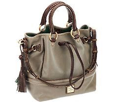 Dooney & Bourke Florentine Leather Buckley Bag w/ Brown Tomo Trim