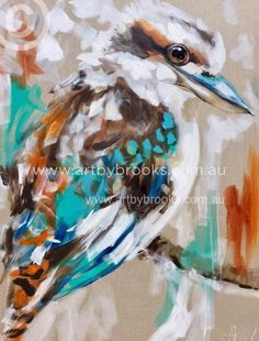 Little kookaburra - original on Belgian linen 75 cm Bird Painting Acrylic, Watercolor Bird, Wolf, Animal Paintings, Bird Paintings, Australian Birds, Bird Artwork, Aboriginal Art, Medium Art