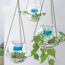 """Hanging Terrarium Votive Holder "" Holds water for flowers or cuttings. Glass ball with glass cup. Hang with removable chains or use tabletop."