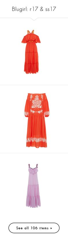 """Blugirl: r17 & ss17"" by livnd ❤ liked on Polyvore featuring Blugirl, resort2017, dresses, off the shoulder dress, red off shoulder dress, embroidered maxi dress, off the shoulder ruffle dress, halter top, orange and maxi dresses"