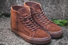 Vans 2015 Fall/Winter Sk8-Hi Suede Moc  | Tags: sneakers, hi-tops, fringe, suede, brown,