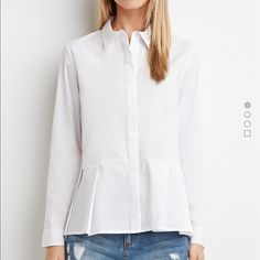 forever21 white button down with peplum New without tags. Doing a major closet overhaul. Never worn out just tried on. No trades. Price is firm. I only sell on Poshmark. Forever 21 Tops Button Down Shirts