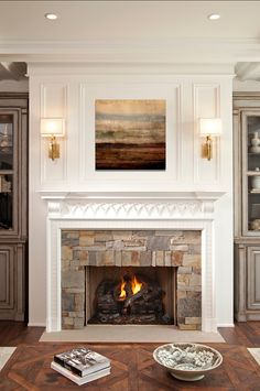 Fireplace Design in white using plain corbels to support the mantel shelf. Wild Goose Carvings supply a range of similar cutshape corbels in all sizes at www.buycarvings.co.uk