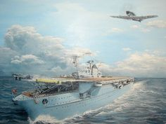 The only operational images that exist of Flugzeugträger Graf Zeppelin are from the imagination of naval artists, for she was never underway at sea and never had an aircraft anywhere near her decks. In this dramatic depiction, a Ju-87C Stuka is launched, while a Messerschmitt Bf-109T Toni flies down the port side.