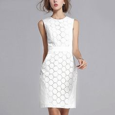 2017 Summer Dress Women Sexy Sleeveless Solid Color Slim Plus Size Dresses Fashion Casual Club Plus Size White Lace Mini Dress Elegant Dresses, Casual Dresses, Fashion Dresses, Elegant Woman, Summer Dresses For Women, Dresses For Work, Dress Summer, White Lace Mini Dress, Dress Plus Size