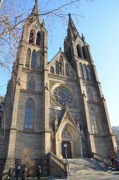 Towers of St.Ludmila church in Vinohrady, Prague, Czechia