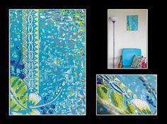 """""""En harmonie"""" Acrylique sur toile 33x46cm - Motifs en relief - Made in Tahiti"""