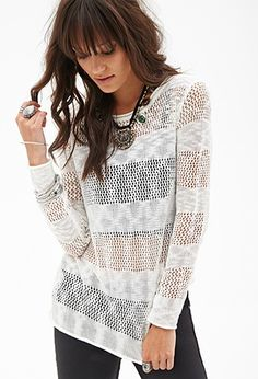 Striped Open-Knit Sweater | Forever 21 - 2000119755