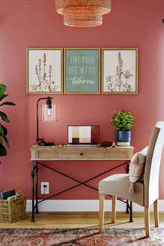 Update your office space with inspirational prints, touches of greenery and a pop of color.