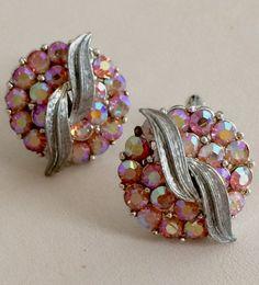 Vintage Coro rhinestone earrings pink AB with silver by GiosGems1