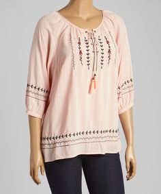 Look what I found on #zulily! Light Pink Lace-Up Peasant Top - Plus #zulilyfinds