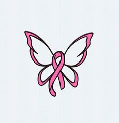 Breast Cancer Ribbon Butterfly SVG Cut File by JenCraftDesigns Cancer Awareness Tattoo, Cancer Survivor Tattoo, Breast Cancer Crafts, Breast Cancer Tattoos, Cancer Ribbon Tattoos, Cancer Ribbons, Breast Cancer Nails, Butterflies, Tattoo