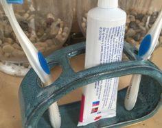 Tandenborstel tandpasta houder keramische waterval door BTRceramics