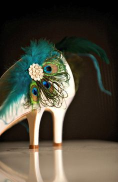 Shoe Clips Peacock & Teal Fan. Couture Bride Bridal Bridesmaid MOH Gift, Sparkly Rhinestone Crystals, Statement Luxe Fancy Engagement Party Something on the shoes?
