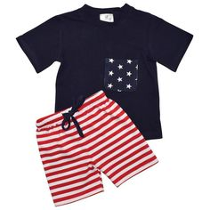 Unique Baby Boys 4th of July Patriotic 2-Piece Summer Outfit (3 Months, Blue)