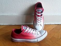 Cranberry red ombre Converse upcycled vintage dip dye by Femchan, 22.50