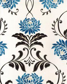Bowen Petal wallpaper design by Laurence Llewellyn Bowen Blue China, Showcase Design, Soft Furnishings, Designer Wallpaper, Pattern Design, Interior Design, Fabric, Turquoise, Home Decor