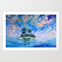 Tropical Decor Art Print - Blue Sky, Ocean, and Palm Tree Island Wanderlust Travel Sailing Lost