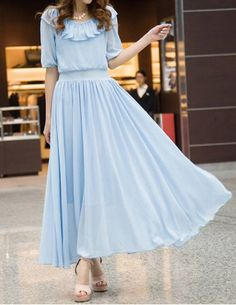Refreshing Style Scoop Neck Solid Color Chiffon Half Sleeve Women's Maxi Dress