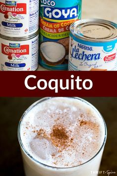 Puerto Rican Eggnog (Eggless Coquito Recipe) Coquito also known as puerto rican eggnog is a delicious adult beverage that is very popular during the holidays Christmas Drinks, Holiday Drinks, Summer Drinks, Fun Drinks, Holiday Recipes, Beverages, Milk Recipes, Mexican Food Recipes, Dessert Recipes