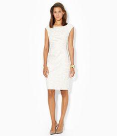6d63d7e67c Lauren by Ralph Lauren - White Petite Cap-sleeve Paisley-jacquard Dress