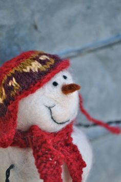 Such a Sweet Face on this little Needle Felted Snowman