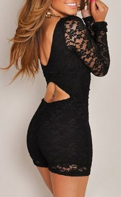 Solid color romper featuring all around lace material. Lined with matching underlay with see-through long sleeves. Wide square neckline with low-cut back and eyelike cutout detailed. These sexy rompers was made by soft stretch fabric that offers comfortable feeling and snug wearing.