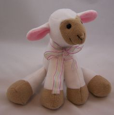 White fleece handmade lamb toy