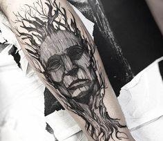 Tree Face tattoo by Fredao Oliveira