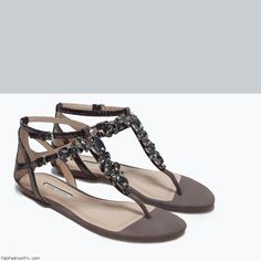 Zara jewelled leather flat grey sandals. Stone detail on instep straps. Ankle strap and buckle fastening (119.00 USD). #zara