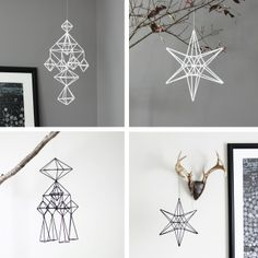 himmeli in black and white [via it's a house] Beautiful Christmas, White Christmas, Christmas Crafts, Christmas Decorations, Xmas, Scandinavian Christmas, Winter Holidays, Winter Wonderland, Diy And Crafts