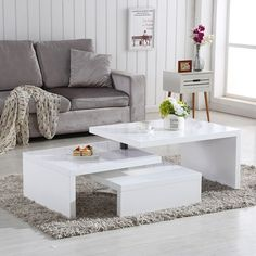 Design Coffee Table Rotating In White High Gloss With 3