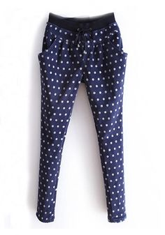 ++ Dark Blue Polka Dot Drawstring Waist Corduroy Pants