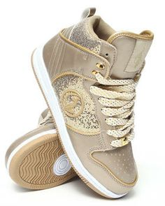 Baby Phat Sand & Gold Kitty Hi-Top Wedge Sneaker - Women ...