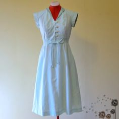 Vintage Light Mint Green Collared Linen Dress by LupineLaneVintage, $30.00
